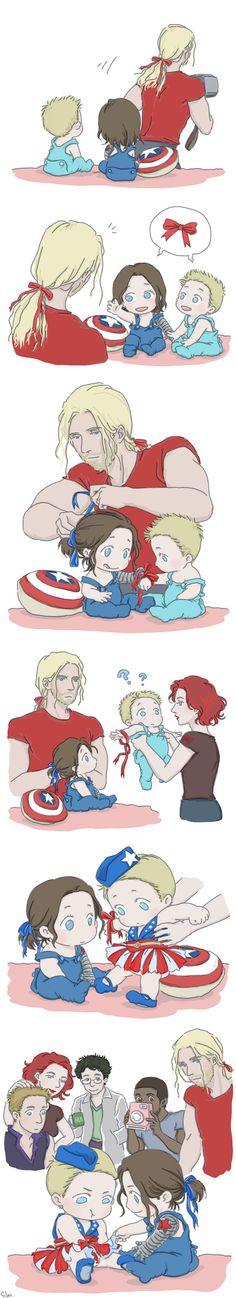 Yes I drew stucky again~ I love Steve and Bucky babies! Steve and Bucky babies Funny Marvel Memes, Marvel Jokes, Marvel Dc Comics, Baby Avengers, The Avengers, Marvel Universe, Loki, Thor, Heros Comics