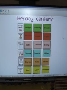 Jones's Kindergarten: Literacy Centers--love the smartboard groups with colors and all Kindergarten Literacy Stations, Beginning Of Kindergarten, Kindergarten Classroom, Literacy Centers, Literacy Games, Kindergarten Crafts, Learning Centers, Preschool Ideas, Classroom Organization