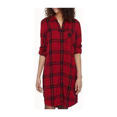 Icône Tartan shirtdress ($37) ❤ liked on Polyvore featuring dresses, checkered dress, shirt dress, checked shirt dress, tartan plaid dress and red checkered dress