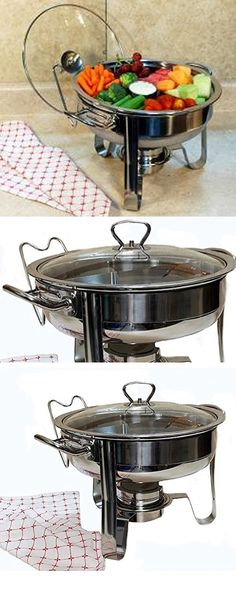 4-Quart Stainless Steel Tempered Glass Lid Removable Burner Is Included Chafing Dish With New Duo Section Design