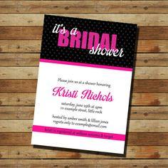 Hot Pink Bridal Shower Invitation (digital file)