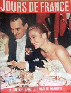 Grace, at the Winter Ball in NYC, with her then fiance, Prince Rainier   Jan. 1956