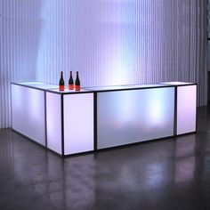 white tate bars feature an aluminum frame with milk plexi inserts note: bar has an open-back and does not have internal shelving Lounge Lighting, Lighting Design, White Furniture, Modern Furniture, Decor Interior Design, Interior Decorating, Salas Lounge, Bar Unit, Portable Bar