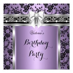 Damask Rose Lilac Silver Black Birthday Party Custom Announcements
