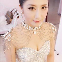 Wedding Jewelry Bridal Necklace Crystal Rhinestone Shoulder Chain + Earrings #Unbranded