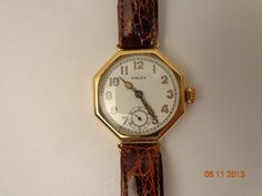 """Vintage, approx. 1920's, Rolex mens wrist watch, with date, original gold strap clasp. 1 3/4"""" x 1 3/4"""", 14K, Call for price, hhorwitz.com"""