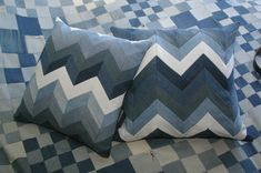 Chevron Pillows made with 5 jean cut-offs. 2018 by Diana.