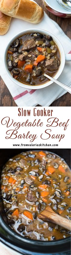 This hearty soup cooks on it's own in your slow cooker to create an easy, delicious weeknight meal. ~ http://www.fromvalerieskitchen.com