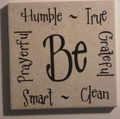 Be words vinyl on tile Coaster Crafts, Diy Coasters, Tile Projects, Vinyl Projects, Vinyl Crafts, Wood Crafts, Tree Crafts, Ceramic Tile Crafts, Painting Tile Floors