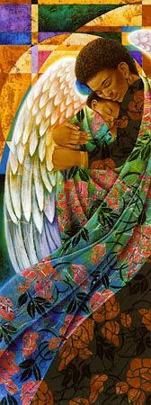 Summer by Keith Mallett is a limited edition work of art highlighting a black mother with angel wings enveloped in bright flower-patterned robes and lovingly holding her infant child. African American Art, African Art, Seraph Angel, I Believe In Angels, Black Angels, Black Artwork, Angels Among Us, Religion, Guardian Angels