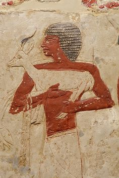 Slave bearing gazelle, from the tomb of some well-poitoned cat named Perneb at Saqqara, 23rd century BCE.