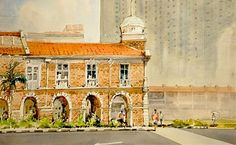 Old Jinricksha Station (detail only) by Ong Kim Seng, Grand Masters of Art Exhibition