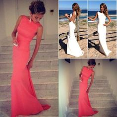 Wholesale Coral Prom Dresses 2014 Vintage High Neck Backless Evening Dresses 2015 Long Wedding Party Dress Fitted Beach Maxi Prom Dress under $100, Free shipping, $72.8/Piece | DHgate Mobile