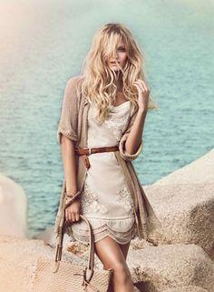 Wonderful white dress with a beige cardigan by Twin-Set Simona Barbieri