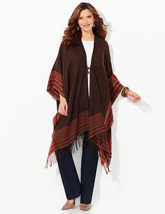 $ 64. Cozy up to our new ruana in super-soft, boucled yarn. Lines of geometric pattern and dangling fringe create a beautiful border at the hem. We added a single toggle tie at the opened front for added detail. Catherines shawls and ruanas are fully fashioned to flatter the plus size figure. catherines.com