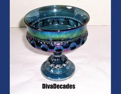 Blue Carnival glass  thumbprint dish  vintage glass by DivaDecades
