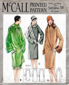 McCall 5434 1920s 1928 coat shawl collar scarf wrap vintage sewing pattern reproduction