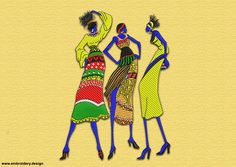 African leggy women embroidery design – 3 sizes & 8 formats by EmbroSoft on Etsy https://www.etsy.com/listing/267433376/african-leggy-women-embroidery-design-3