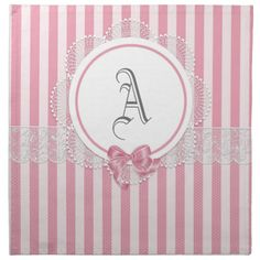 Customizable Monogram Linen Napkin Sets - Gifts - Pink & White Stripes - Romantic Home Cotton Napkins, Linen Napkins, Cloth Napkins, Napkins Set, Furniture Repair, Furniture Ideas, Kitchen Furniture, Design Your Kitchen, Romantic Homes