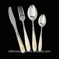 Factory direct sales dinnerware set stainless steel gold plated spoon and fork Stainless Steel Cutlery, Dinnerware, Spoon, Tableware, Direct Sales, Fork, Dinner Ware, Dining Ware, Tablewares