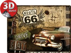 Route 66 Road Trip Cartel de chapa