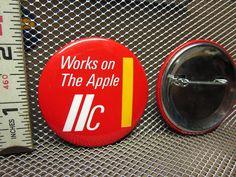 Apple IIC Button Compact Computer Pinback Company Logo PC Circa 1984 OG