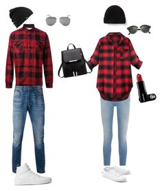 """""""#Couplegoals"""" by avamae2005 on Polyvore featuring Sacai, Levi's, Givenchy, Lacoste, Moschino, Yves Saint Laurent, Burton and Ray-Ban"""