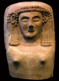 Phoenician Anthropomorphic Coffin Lid Origin: Eastern Mediterranean Circa: 600 BC to 400 BC Dimensions: high x wide Collection: Near Eastern Art Medium: Terracotta Historical Artifacts, Ancient Artifacts, Egypt Mummy, Cradle Of Civilization, Ancient Near East, Phoenician, Biblical Art, Minoan, Orient