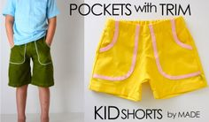 KID Shorts: Pockets with Trim Welcome back to our KID Shorts series. You guys have been sewing up a summer storm and I love it! • Check out what everyone's making in the YOU MADE IT Flickr Group. • And if you're on Instagram, tag your photos to #kidshortsmade  (you'll find me @danamadeit)