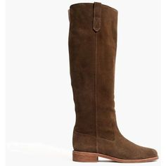 MADEWELL The Allie Knee-High Boot ($298) ❤ liked on Polyvore featuring shoes, boots, knee-high boots, mink, shearling-lined leather boots, short heel boots, low heel knee high boots, over-knee boots and equestrian boots