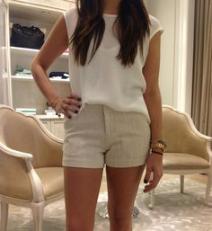 Joie creams & tans easy shorts outfit