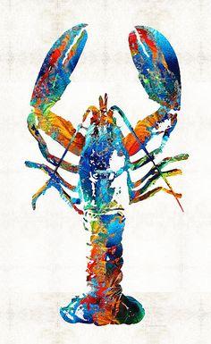 Title ; Colorful Lobster Art By Sharon Cummings Artist ; Sharon Cummings Medium ; Painting - Acrylic On Canvas