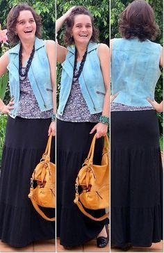 blog v@ LOOKS | por leila diniz: DESCONTRAÇÃO no look saia longa preta com colete jeans azul claro + msg de DEUS