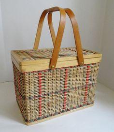 Vintage Wicker and Wood Trim Picnic Basket by EncoreEmporium, $25.00