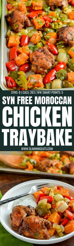 Syn Free Tender Moroccan Chicken with Roasted Sweet Potato Traybake packed with heaps of flavour for a delicious family meal. Slimming World Dinners, Slimming World Chicken Recipes, Slimming World Recipes Syn Free, Slimming Eats, Slimming Word, Diet Recipes, Cooking Recipes, Healthy Recipes, Diet Meals