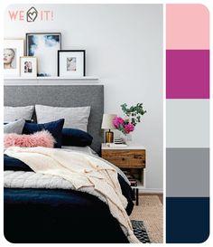 – A cor cinza garante combinações incríveis com toques coloridos no quarto, como detalhes rosa e azul marinho