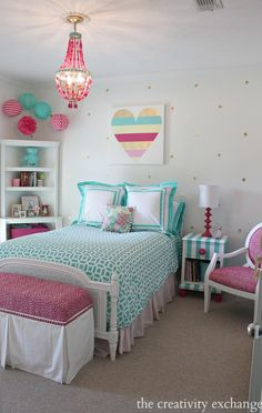 Bright and bold girl's bedroom. A lot of fun DIY projects. The Creativity Exchange