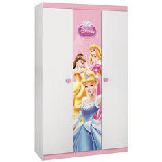 Guarda Roupa Infantil Princesas Disney Happy com 3 portas Branco/Rosa - Pura Magia - CasaTema