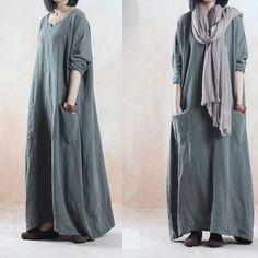 Linen dress Loose fitting long dress maxi dress by JulyFlower Muslim Fashion, Modest Fashion, Hijab Fashion, Boho Fashion, Fashion Dresses, Fashion Spring, Mode Abaya, Mode Hijab, Trendy Plus Size Clothing