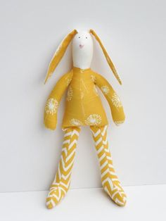 Stuffed bunny rabbit hare plush softie bright yellow bunny