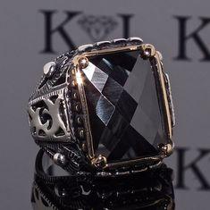 925 Sterling Silver Mens Ring with Black Onyx Unique elegant KaraJewels Design #KaraJewels #Turkish
