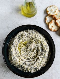 "Phase 3 Everything White Bean Hummus - you know those ""everything"" bagels? This is the hummus version. Sesame, onion, garlic, poppy seeds ... oooh, so good. Serve with sprouted grain pita. This makes 6 full protein/fat servings."
