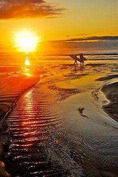 The beach at sunset Surfing 😃😎❤ Beautiful Sunrise, Beautiful Beaches, I Love The Beach, Amazing Sunsets, Belle Photo, Beautiful World, Wonders Of The World, Surfing, Beautiful Pictures