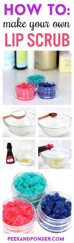 How to Make Your Own Lip Scrub is part of crafts Gifts Lip Balm - DIY lip scrub! A recipe, easy stepbystep instructions, and video on how to make your own lip scrub with ingredients from your kitchen! Diy Lip Scrub, Lip Scrub Homemade, Sugar Scrub Diy, Diy Lip Balm, Do It Yourself Fashion, Make It Yourself, Zucker Schrubben Diy, Lip Scrubs, Sugar Scrubs