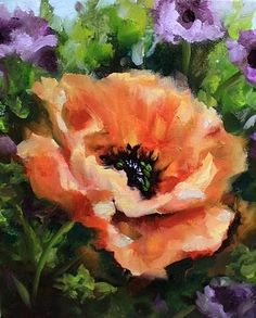 Wild Watermelon Poppy, painting by artist Nancy Medina