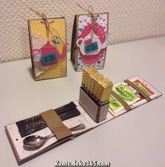 At yesterday's craft meeting at my house we've made this cute Merci gift box. My friend Ineke Ruesink gave me such an adorabl. Tea Riffic, Ideias Diy, Tea Gifts, Diy Box, Creative Gifts, Creative Box, Craft Fairs, Little Gifts, Homemade Gifts