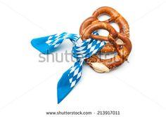 Appetizing bavarian pretzels isolated on white background