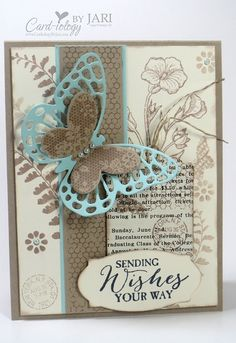 Sketch using the Butterfly Basics set Butterfly Cards, Flower Cards, Paper Cards, Diy Cards, Cumpleaños Diy, Stampin Up Karten, Beautiful Handmade Cards, Handmade Flowers, Stamping Up Cards
