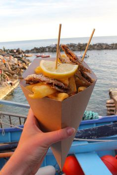 Seafood cone in Riomaggiore - 6 Local Foods to try in Cinque Terre, Italy