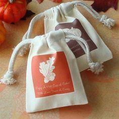 Fall Theme Silhouette Small Muslin Bag :: WeddingFavors.com